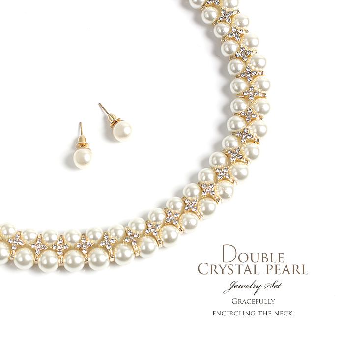 The Set Of Choker Necklace Pierced Earrings Two Pearls Rhinestone Gold Parts Cross Design Is Given Between And Glitter Pearl