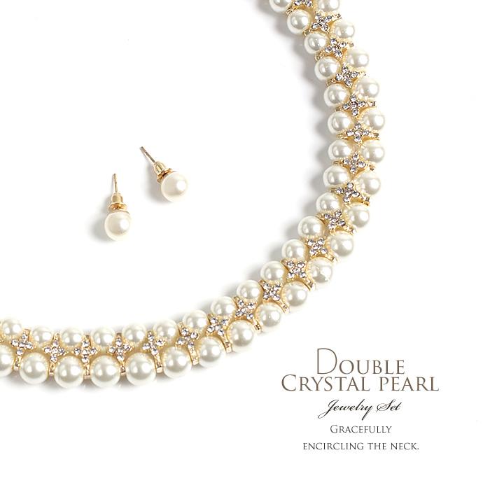 e57b8053be979 Two pearl choker necklace & pierced earrings set (returned goods exchange  imp