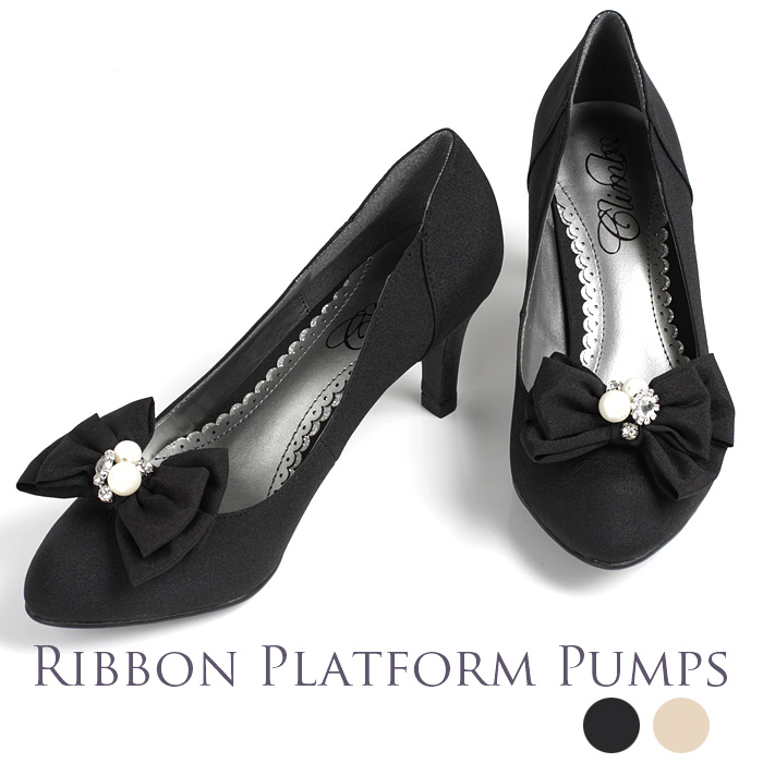 9acb152b2c90 Rs Gown  Ribbon clips removable lame her pumps almond beige black ...