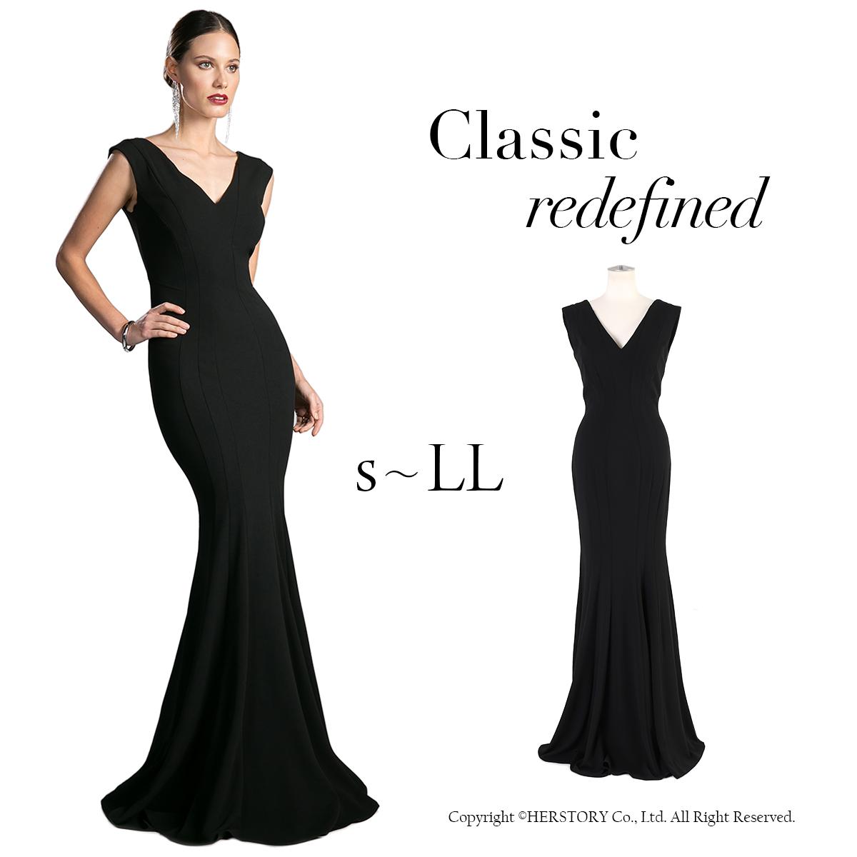 美を極めた マーメイド ブラック ドレス 高級 演奏会 発表会 ステージドレス ロングドレス セクシー FD-230035