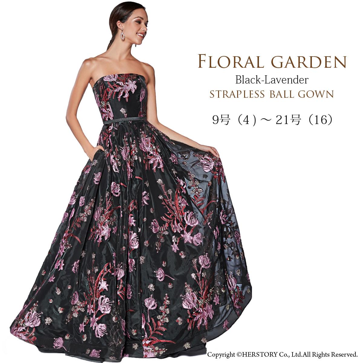 フラワー 刺繍 Aライン ロングドレス 大きいサイズ ステージドレス 演奏会ドレス ブラック ビスチェ ゴージャス インポート フォーマル 高級 FD-230038