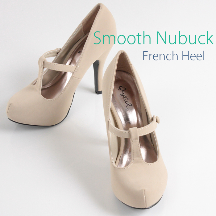 29bf2483fc54 Rs Gown  Classical French pumps platform 10.5 cm heel beige nubuck ...