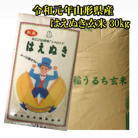 新米 送料無料 令和元年 山形県産 はえぬき 玄米 30kg 米