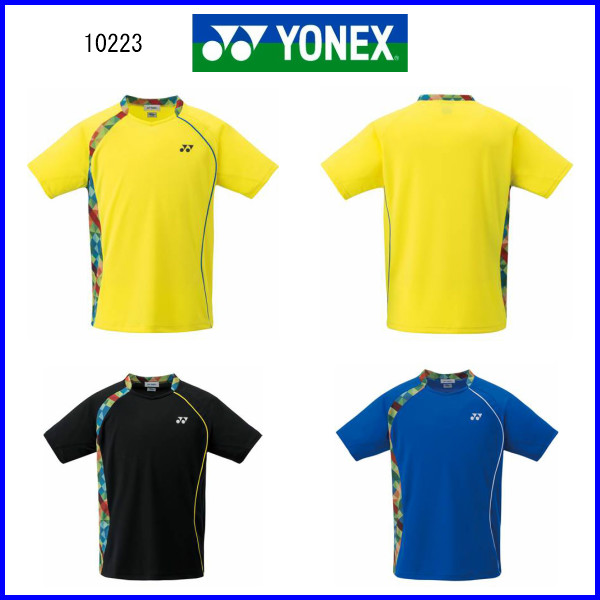 ヨネックス UNIシャツ フィットスタイル 10223 ライトイエロー ブラック ブラストブルー M L O 大感謝祭