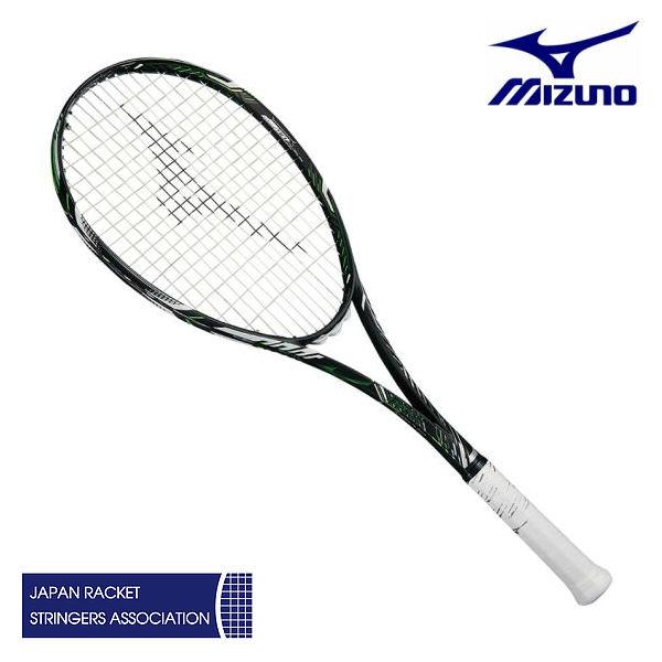 ソフトテニス ラケット ミズノ ディオス50-R 63JTN86537 ハイブリッドブラック/フューチャーライム 00X 00U 0U 後衛 軟式 ガット代張り代 無料
