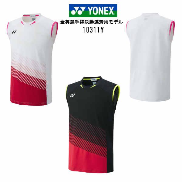 ヨネックス YONEX メンズゲームシャツ バドミントン ユニフォーム ノースリーブ 10311Y ホワイト ブラック M L O 数量限定 大感謝祭