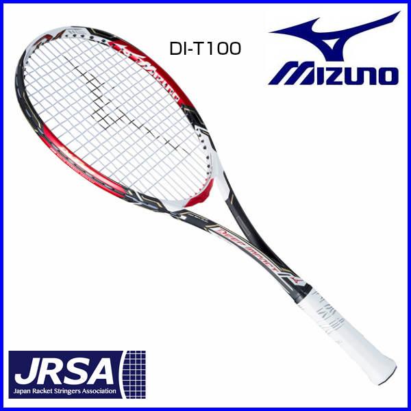 ミズノ ソフトテニスラケット ディーアイT-100 63JTN74360 前衛 ソリッドブラック×レッド 0U 1U