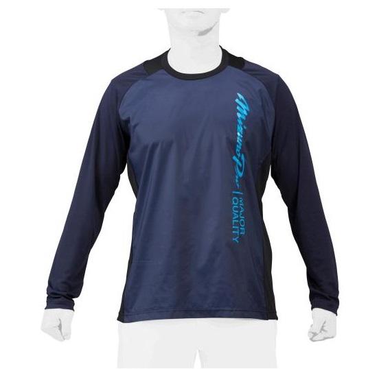 当店限定販売 アンダーシャツとしても着用できる 胸の大胆なロゴが特徴のトレーニングジャケット ミズノプロ mizunopro 限定トレーニングウエア トレーニングジャケット ロングスリーブシャツ 正規品スーパーSALE×店内全品キャンペーン 12JE1J7309 ユニセックス 野球 ディープネイビー 2021AW