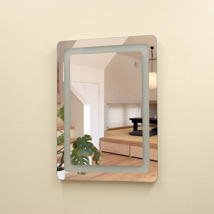 壁掛けLEDライト付き浴室洗面化粧台ミラー 角丸 LED照明フレームレスミラー 80cm×60cm おしゃれ鏡