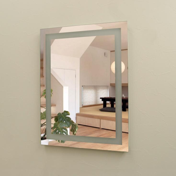壁掛けLEDライト付き浴室洗面化粧台ミラー スクエア LED照明フレームレスミラー 80cm×60cm おしゃれ鏡