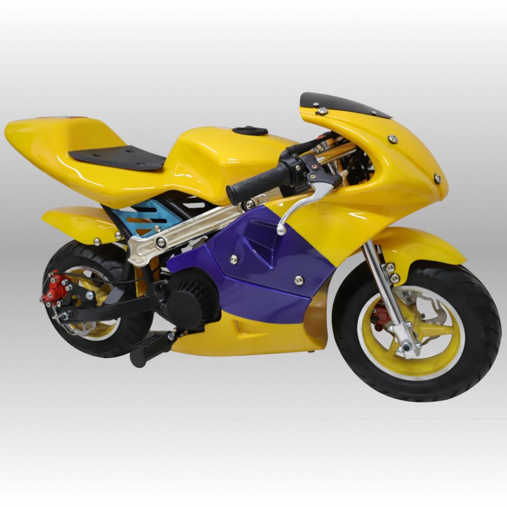 レーシングポケバイ 新作 人気 ポケットバイク ポケバイ CR-PBR01☆50ccエンジン搭載 休み GP 青黄カラーモデルポケットバイク格安消耗部品