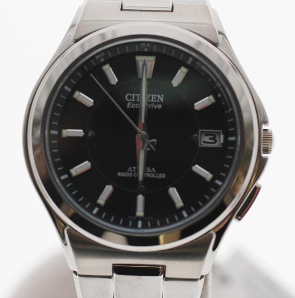 【中古】シチズン CITIZEN H110-T011331 アテッサ ATTESA Eco-Drive エコドライブ 腕時計 電波時計 メンズ ソーラー電波 黒文字盤 01313