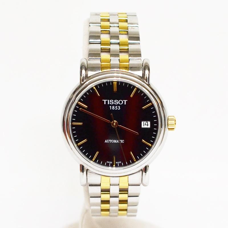 【中古】TISSOT ティソ 1853 AUTOMATIC メンズ レディース 自動巻き ブラック ゴールド ステンレス 腕時計 ビジネス USED-B 02348
