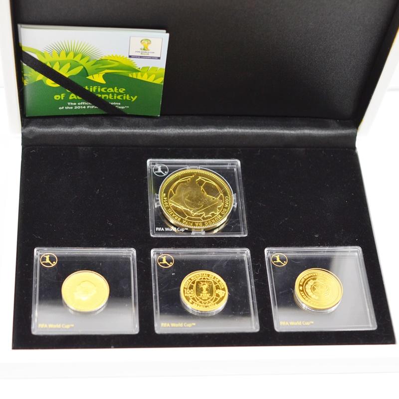 【中古】FIFA WORLD CUP Brazil ワールドカップ ブラジル 2014 ブラジル 金貨 K24 ゴールド 記念メダル 記念コイン コレクション 4点セット メダルセット サッカー プルーフ 01951