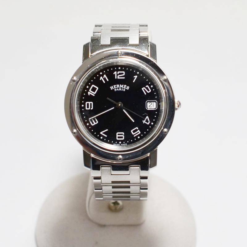 【中古】エルメス HERMES クリッパー CL6.710 クォーツ ブラック文字盤 メンズ 腕時計 コマ無し USED-AB 02201