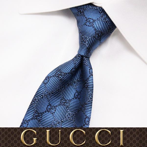 GUCCI グッチ SILK ネクタイ 56 GUCCI グッチ ブルー SILK ネクタイ