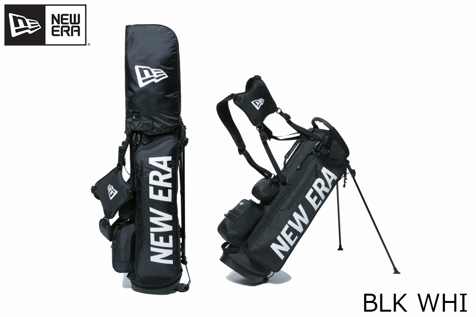 NEW ERA ニューエラ GOLF STAND CADDIE BAG NEWERA BLK WHI 【ゴルフ】 キャディーバッグ スタンド式 ブラック ホワイトプリントロゴ [ベーシックポーチ付き]