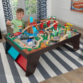 KidKraft Train Set Wooden Rail And Large Tables With Waterfall Station Train  Set U0026amp;