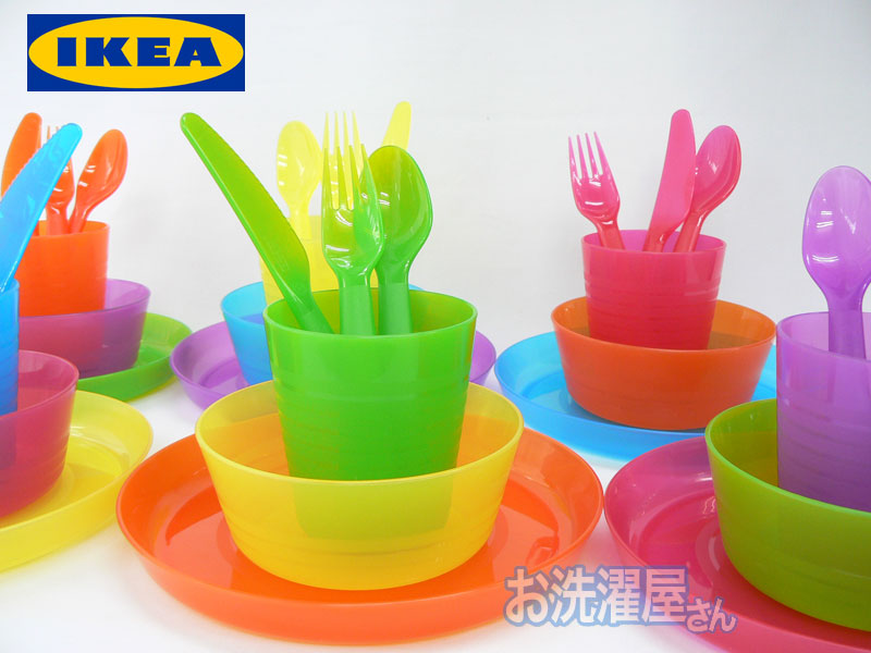 IKEA CHILDRENS KALAS 36 PIECE PLASTIC CUTLERY SET 6 X KNIVES FORKS,