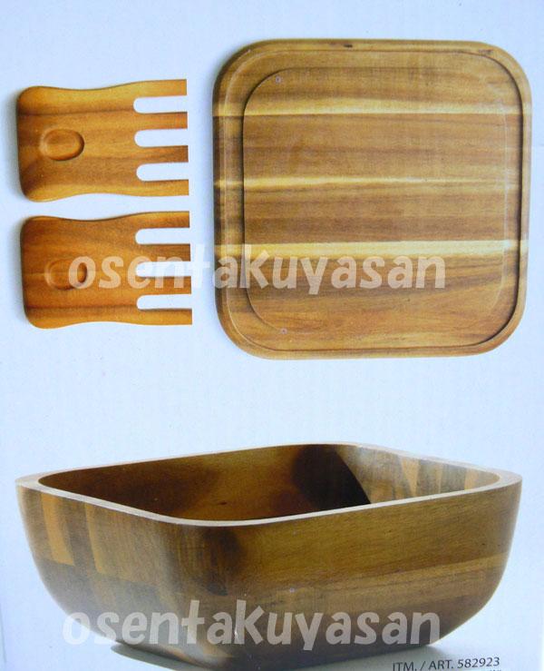 ROSCHER&CO木材色拉盆4枚安排木製(金合歡)盤子安排