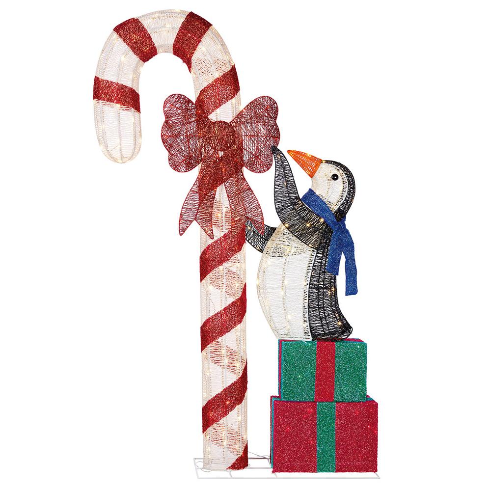 【送料無料】LED ホリデーペンギン キャンディケインとプレゼント 約182cm LED電球約240球付き クリスマス イルミネーション※沖縄・離島発送不可