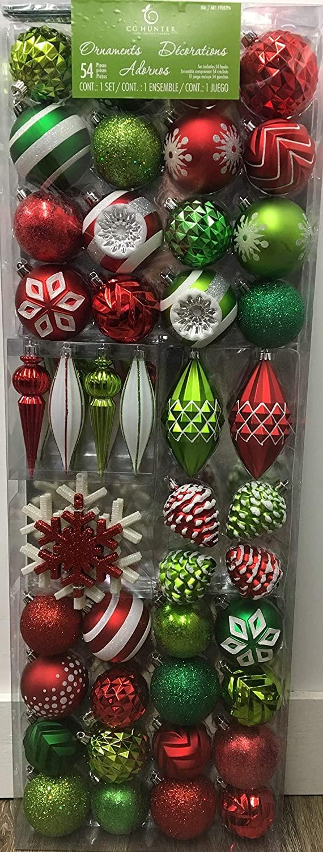 激安特価品 ※パッケージにダメージがある場合がございます クリスマスオーナメント たっぷり54ピースセット フック付き ボール直径約7.5cm ラメ お得セット 雪の結晶 プラスチック製