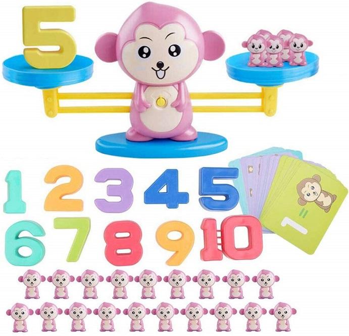 知育玩具 てんびん 出色 バランスゲーム 子供 おもちゃ 猿 幼児 天秤 数字 ピンク 重さ 年末年始大決算