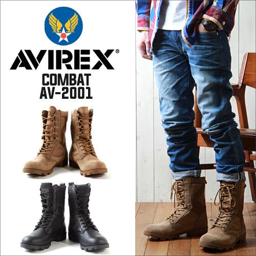 靴子 /AVIREX / avirexl /COMBAT / AV2001 丛林皮靴这皮革和皮革军事 / 男 / 休闲