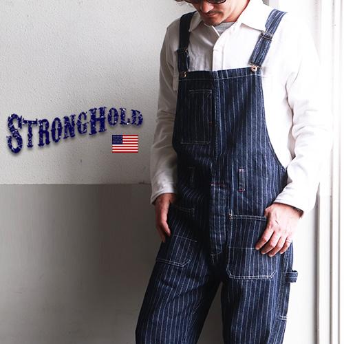 オーバーオール アメカジ ワークパンツ つなぎ ルーズ ワイド ウォバッシュ ストライプ ヴィンテージ STRONG HOLD ストロングホールド  STRONG HOLD ヴィンテージワークスタイル ウォバッシュオーバーオール ストロングホールド メンズ アメカジ
