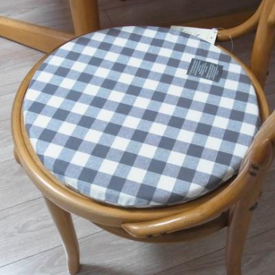 チェアパッド シートクッション 円形 径35cm インド綿  ブラック チェック【あす楽対応】