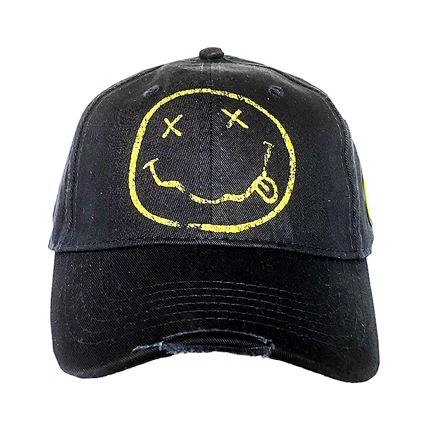 Grey//Black Baseball Cap Official Nivana Smile