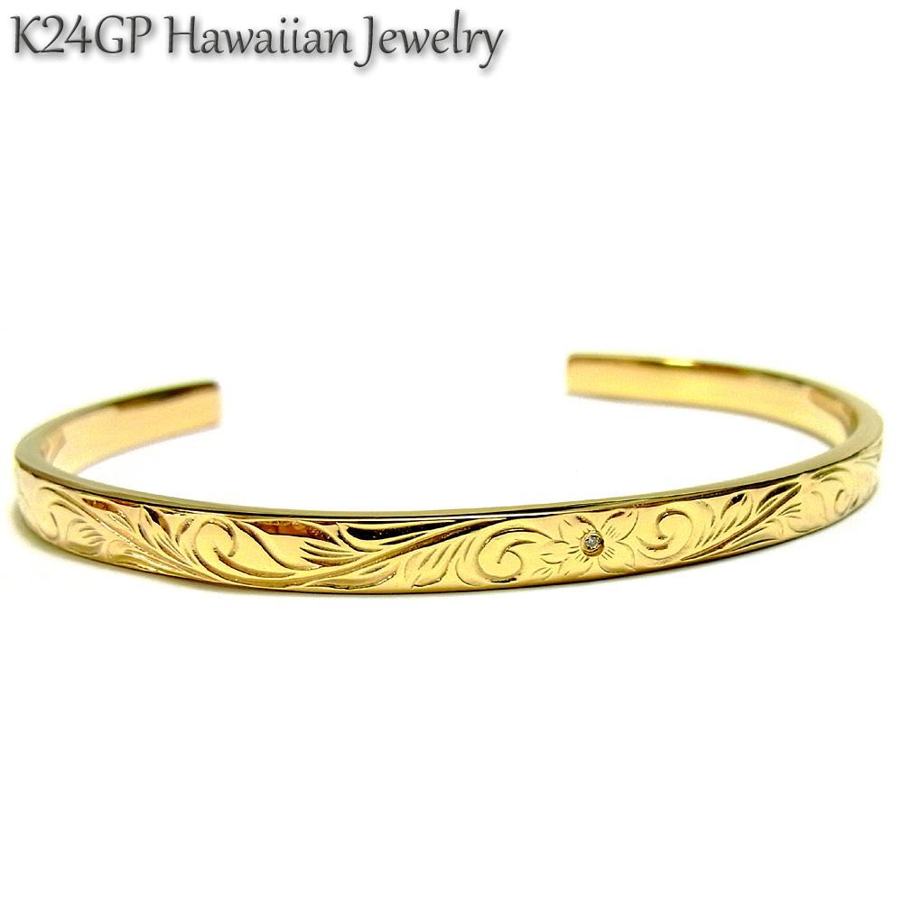 ハワイアンジュエリー バングル K24gp 24kgp K24gp K24 イエローゴールド メンズ レディース 石 ジルコニア 記念日 誕生日 プレゼント ギフト サージカルステンレス
