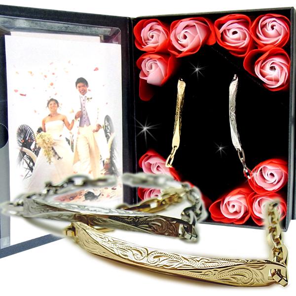 ペアブレスレット ペアハワイアンジュエリー カップル 記念日 誕生日 プレゼント ギフト 花 入浴剤 写真フレーム フラワー サージカルステンレス