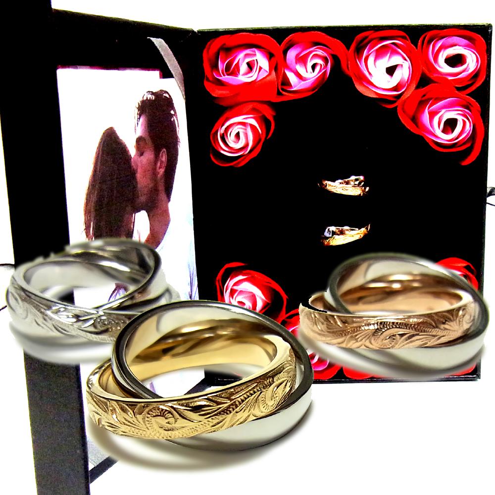 ペアリング ペアハワイアンジュエリー 指輪 2連リング カレイキニ スクロール 金属アレルギー対応 サージカル ステンレス 花 入浴剤 写真フレーム フラワー