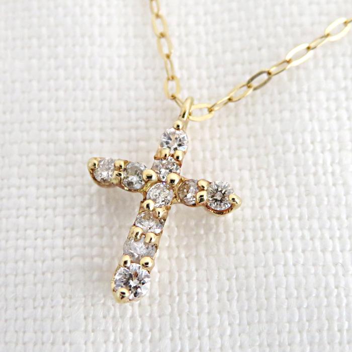 K18 イエローゴールド ダイヤモンド クロス ペンダント 40cm おしゃれ 上品 普段使い 誕生石 4月 プレゼント 記念品 ギフト ジュエリー アクセサリー 送料無料