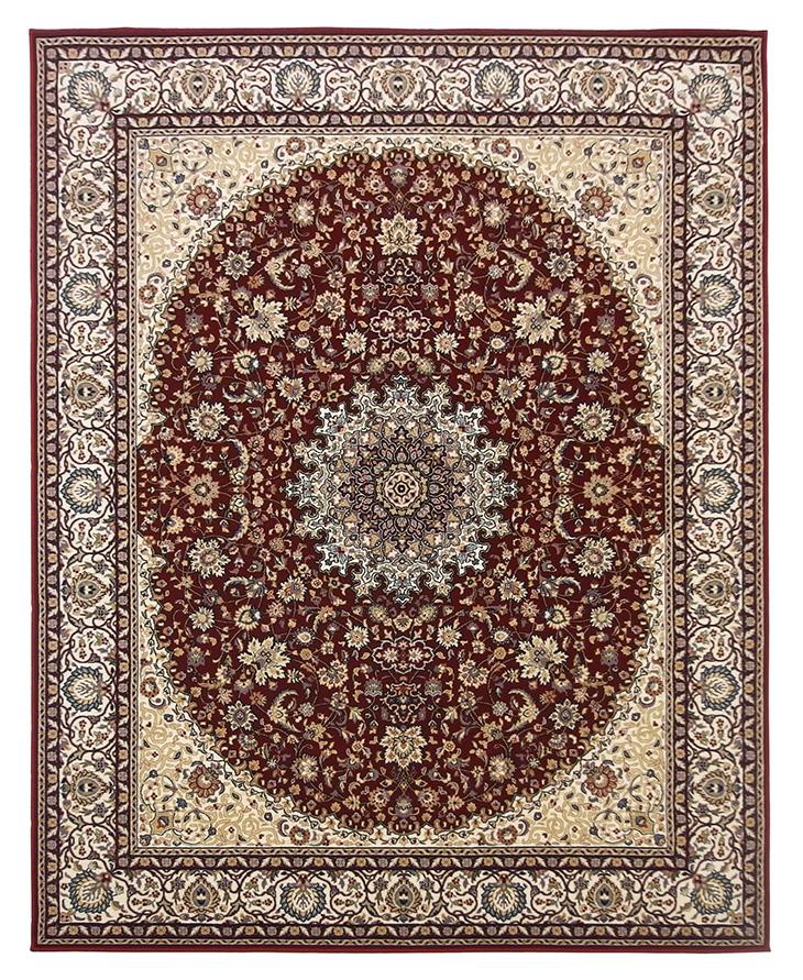 ウール100%モルドバ製ウィルトン織りラグ。240x340cm(小さめ6畳)。レッド。ヨーロッパ東端の国・モルドバで生産された純毛玄関マット。クラシックなペルシャ柄で落ち着いた色味のレッド・赤です。