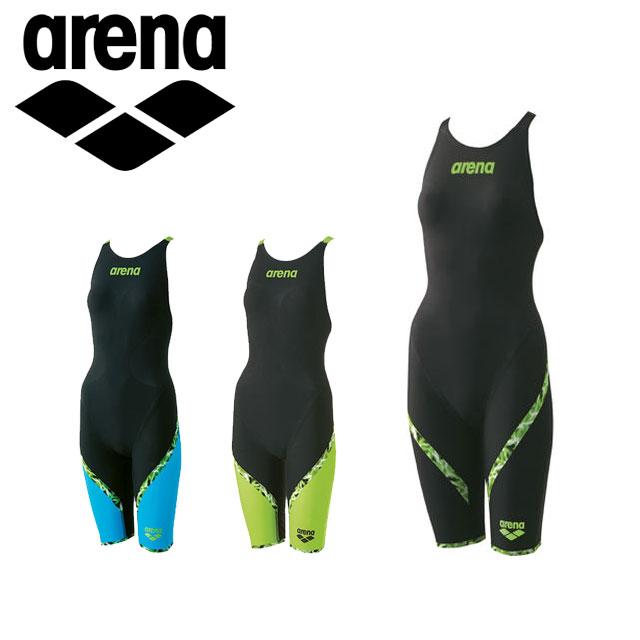 アリーナ 競泳 水着 ジュニア AQUAFORCE LIGHTNING ハーフスパッツ フラット クロスバック パワータイプ FINA承認モデル 女の子 子供用 ARN6000WJ arena