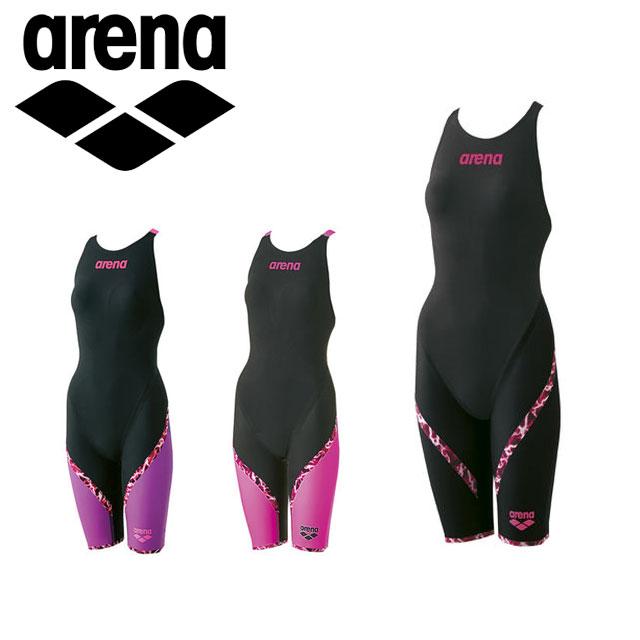 アリーナ 競泳 水着 ジュニア AQUAFORCE LIGHTNING ハーフ スパッツ フラットクロスバック フレックスタイプ FINA承認モデル 女の子 子供用 ARN6002WJ arena