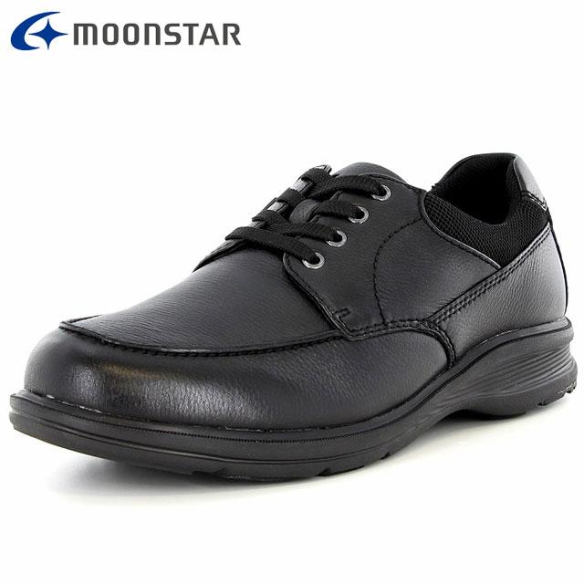 ムーンスター メンズ シューズ ワールドマーチ WM3123 ブラック 48597616 MS 男性用 ウォーキングシューズ 幅広 4E 内側ファスナー 風合いのあるソフトレザー 靴