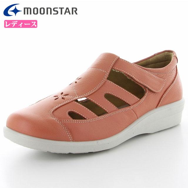 ムーンスター レディース シューズ スポルス SP5632 コーラルピンク 42324614 MS 女性用 コンフォートシューズ 足に柔らかくフィット ふっくら柔らかい素材 清涼感あるサマーシューズ 靴
