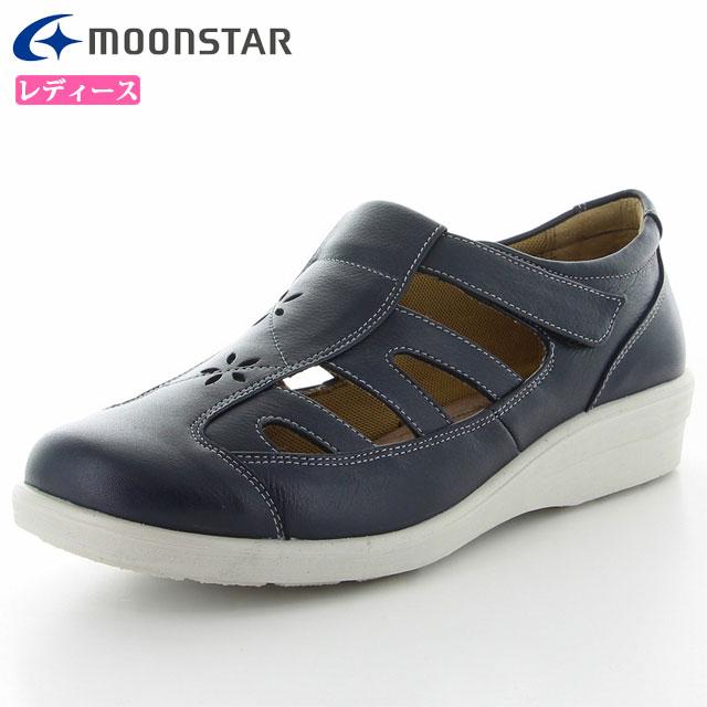 ムーンスター レディース シューズ スポルス SP5632 ネイビー 42324615 MS 女性用 コンフォートシューズ 4E 足に柔らかくフィット 清涼感あるサマーシューズ 靴