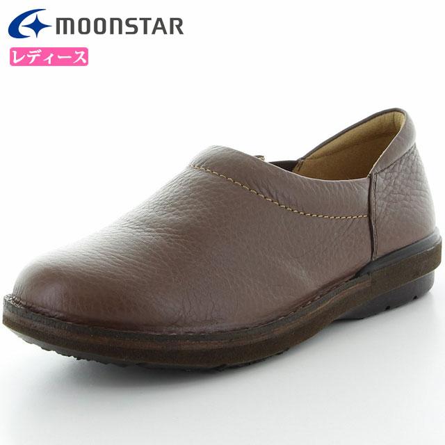 ムーンスター シューズ レディース SLスリップオン01 ダークブラウン 42600029 MS ライフスタイル カジュアル スニーカー スリッポンタイプ 甲の部分はやわらかくフィット 3E設計 靴