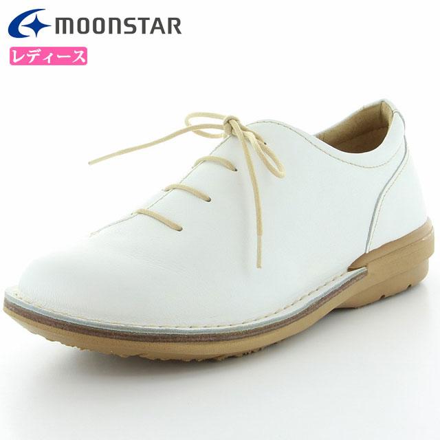 ムーンスター シューズ レディース SLアワセ01 ホワイト 42600031 MS ライフスタイル カジュアル スニーカー 甲の部分はやわらかくフィット 3E設計 靴