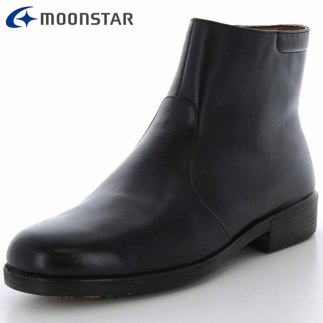 ムーンスター ブーツ メンズ MB4981TSR ブラック 47550816 MS ショートブーツ 4E設計 日本製 雪寒地向け 本革 路面水膜を除去するため発泡ゴムと撥水ゴムを使用 はっ水加工