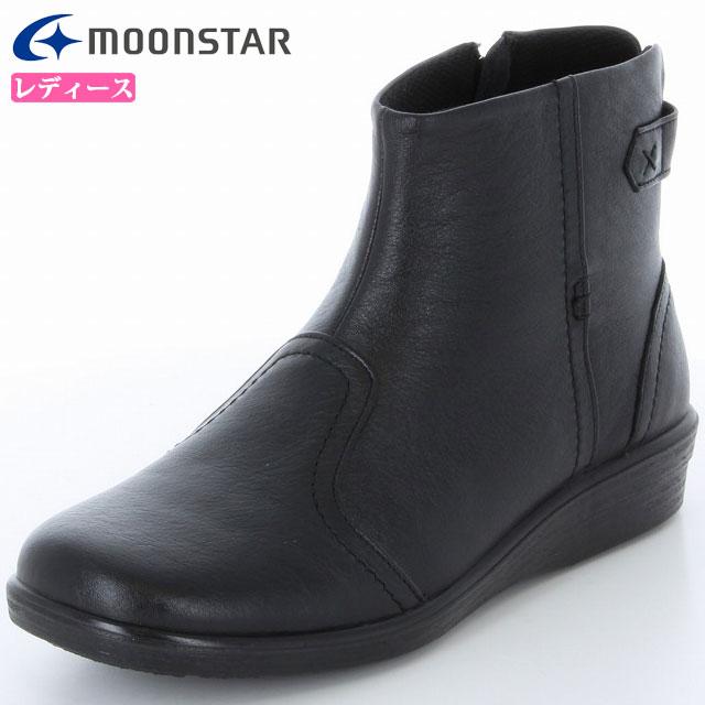 ムーンスター ブーツ レディース スポルス コンフォートブーツ SP5661 ブラック 42323816 MS 履くほどに足に柔らかくフィット 内側ファスナー付 日本製 ショートブーツ