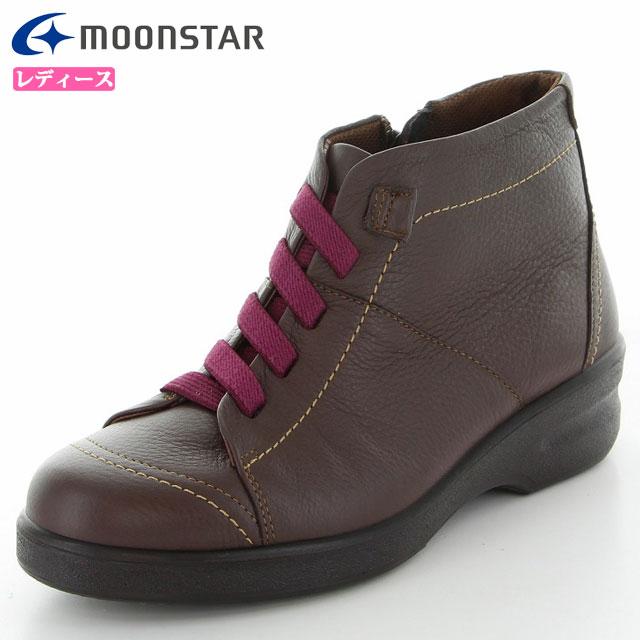 ムーンスター カジュアル ブーツ レディース SP2177WSR ダークブラウン 4423245092324506 MS 雪寒地向け ショートブーツ 4E ワイド コンフォート 本革 撥水加工 靴