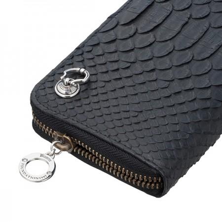 Long wallet men folio round fastener Bizarre biSaar / mer べ RAS python  round zip long wallet (logo dropped handlebar)