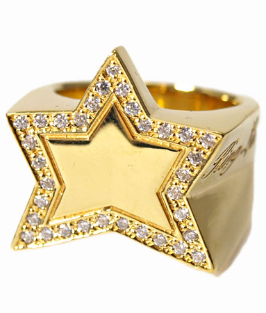 送料無料 K18ゴールドプレートリング 指輪 / キングリモ リング / キング スター K18ゴールドプレート w/パヴェCZ リング 【 指輪 メンズ レディース リング おしゃれ 18k 敬老の日 】
