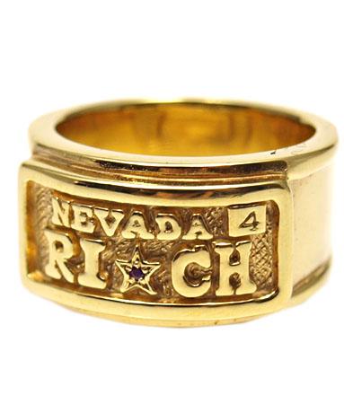 送料無料 K18ゴールドプレートリング 指輪 / キングリモ リング / リッチ プレート K18ゴールドプレート w/ルビー リング 【 指輪 メンズ レディース リング おしゃれ 18k 敬老の日 】