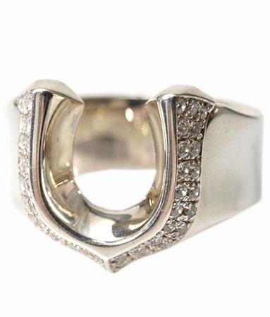 送料無料 シルバー925 リング 指輪 / キングリモ リング / ハイ ローラー w/パヴェCZ リング 【 ホースシュー 馬蹄 指輪 メンズ レディース リング おしゃれ 敬老の日 】
